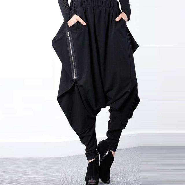 Women Black Elastic Waist Baggy Low-Crotch Trousers Pockets Irregular Gothic Longrricdress-rricdress