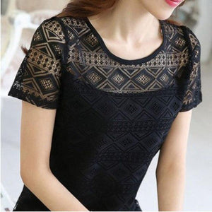 Women Fashion Hollow Out Short Sleeve Blouses Lace Chiffon Shirtsrricdress-rricdress