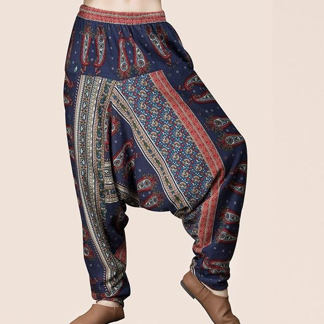 ZANZEA Vintage Baggy High Elastic Waist Drop-Crotch Pantalons Women Retro Leisure Ethnicrricdress-rricdress