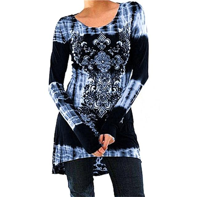 Vintage Floral Printed Women Tunic Tops Plus Size 3XL 4XL Casual Looserricdress-rricdress