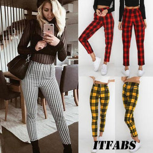 2018 New Style Plaid High Waist Pant Women Skinny Jeans Zipper Trousersrricdress-rricdress