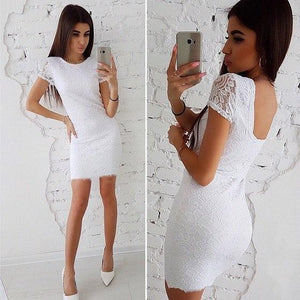Sexy White Lace Skinny Dress 2018 New Summer Fashion O-neck Slim Dressrricdress-rricdress