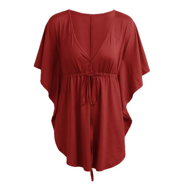 Plus Size Blouse XXXXXL Summer Women Casual Solid Blouses Sexy V-Neck Batwingrricdress-rricdress