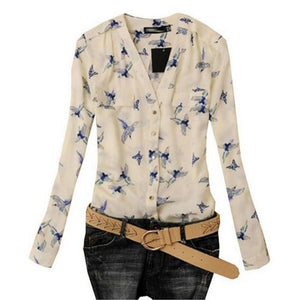 Elegant Bird Print Blouse Fashion Women Ladies Vintage Blusas Office Shirt Chiffonrricdress-rricdress