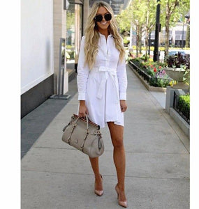 2018 fashion Women Shirt Dress Slim Single Breasted Turn-down Collar Mini A-linerricdress-rricdress