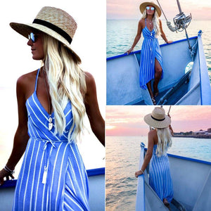 Newly Summer Fashion Bohemian Dress Blue Striped Sashes Sleeveless Deep V-Neck Highrricdress-rricdress