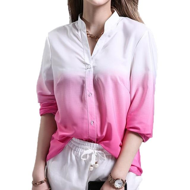 New Women Summer Ladies Casual V Neck Blouses Loose Shirts Gradual Changerricdress-rricdress