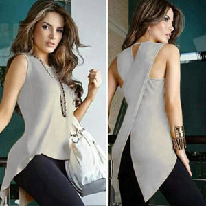 Womens Summer White Blouses Sleeveless Ladies Top Female Cross Irregular O-Neck Womanrricdress-rricdress