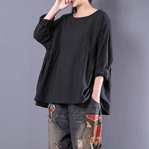 Top Blusas 2018 Women Crew Neck Long Sleeve Plaid Check Autumnrricdress-rricdress