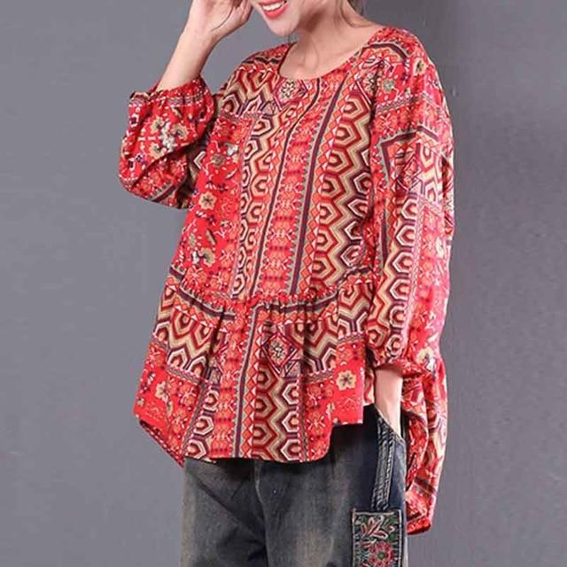 2018 Women Blouse Red Printed Ethnic Lantern Sleeve Shirt Floral Casualrricdress-rricdress
