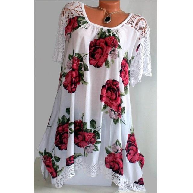 Plus Size Vintage Blouse Shirt Summer Women Tops Lace Patchwork Floral Printedrricdress-rricdress