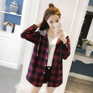 Women Tops 2018 Autumn Korean Casual Preppy Style Plaid Hooded Long Sleeverricdress-rricdress