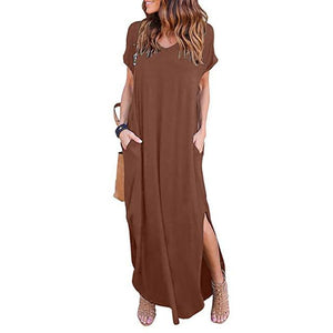 Women's Dress Sex Sundress Summer Beach Long Dress Women's Casual Pocketrricdress-rricdress