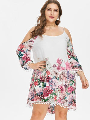 Plus Size Print Casual Cold Shoulder Dress Women Clothing Spring Spaghettirricdress-rricdress