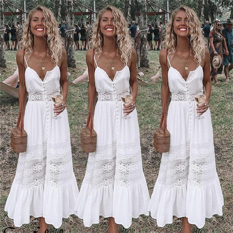 2018 Fashion Women Clothing Summer Lace Dress Female Hollow Out Maxi Whiterricdress-rricdress