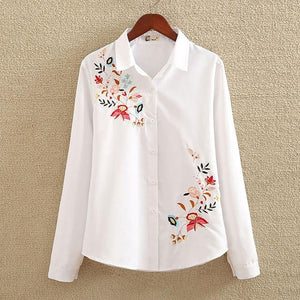 2018 Floral Embroidered Blouse Shirt Women Slim White Tops Long Sleeverricdress-rricdress