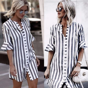 2018 Summer Fashion Women Black and White Striped Half Flare Sleeve Collarrricdress-rricdress