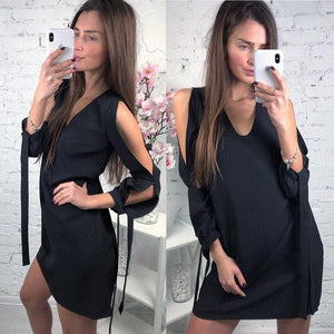 Women's Summer 2018 Fashion Sexy V-neck Long Sleeve Dress Casual Lantern Sleeverricdress-rricdress