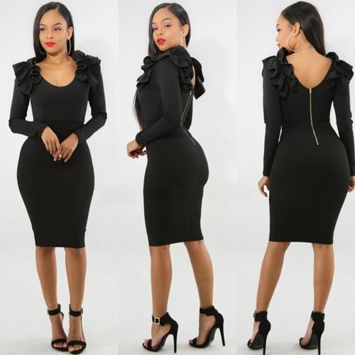 Sexy Slim Women Bodycon Dress Winter Backless Vestido O-neck Party Dress Fashionrricdress-rricdress