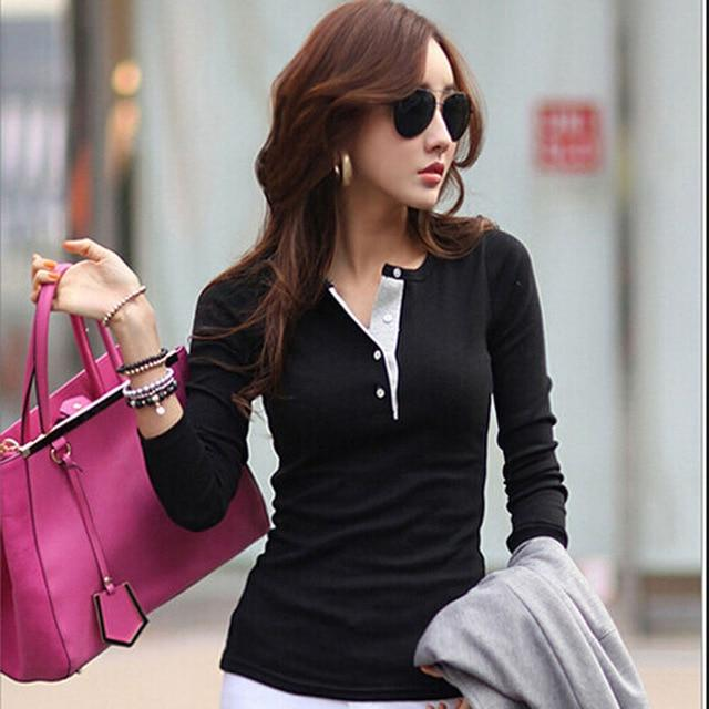 Korean Women Long Sleeve Button Cotton Shirts Casual Slim Tops Blouse Sweaterrricdress-rricdress