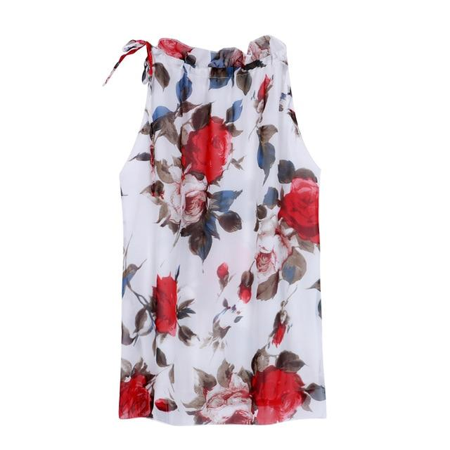 2016 Summer Women Shirts European Fashion Flowers Print Halter Sleeveless Ruffled Neckrricdress-rricdress