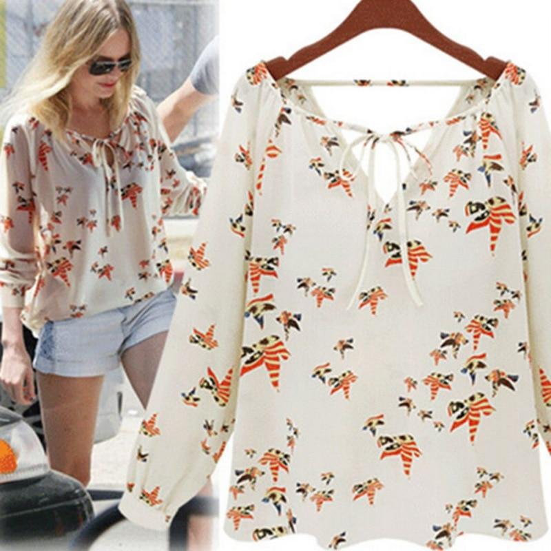 Beautiful Women Fashion Chiffon Top Blouse Short Long Sleeve Dove Print Casualrricdress-rricdress