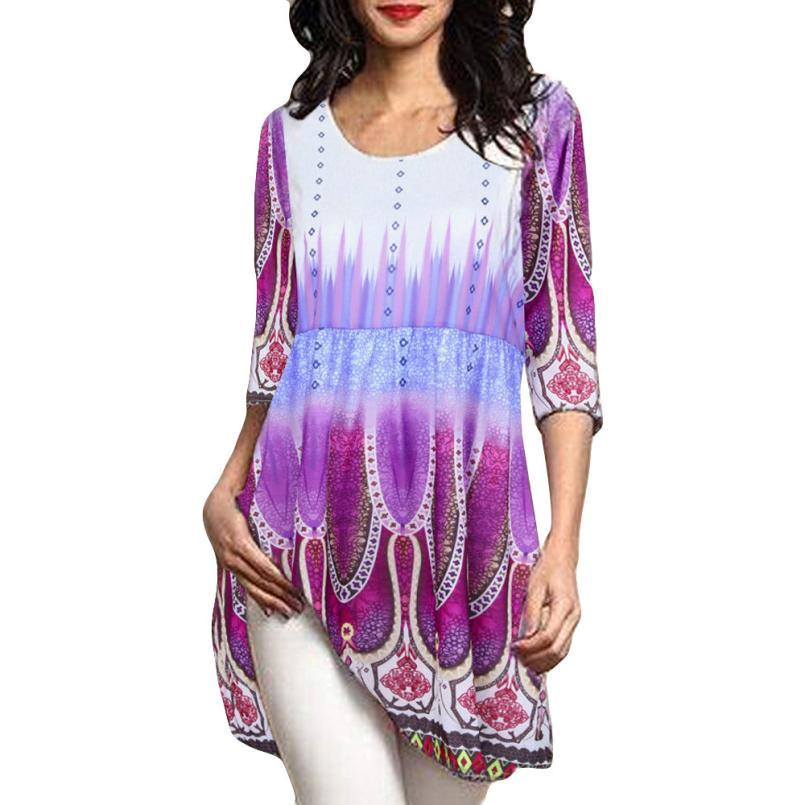 Women Long Sleeve Tunic Tops Blouse Floral Printed O Neck Pulloverrricdress-rricdress