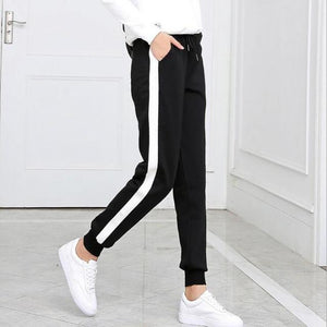 a1e035e7f081f4 2018 Autumn And Winter Women Casual Sweatpants black White Striped Printed  Siderricdress-rricdress