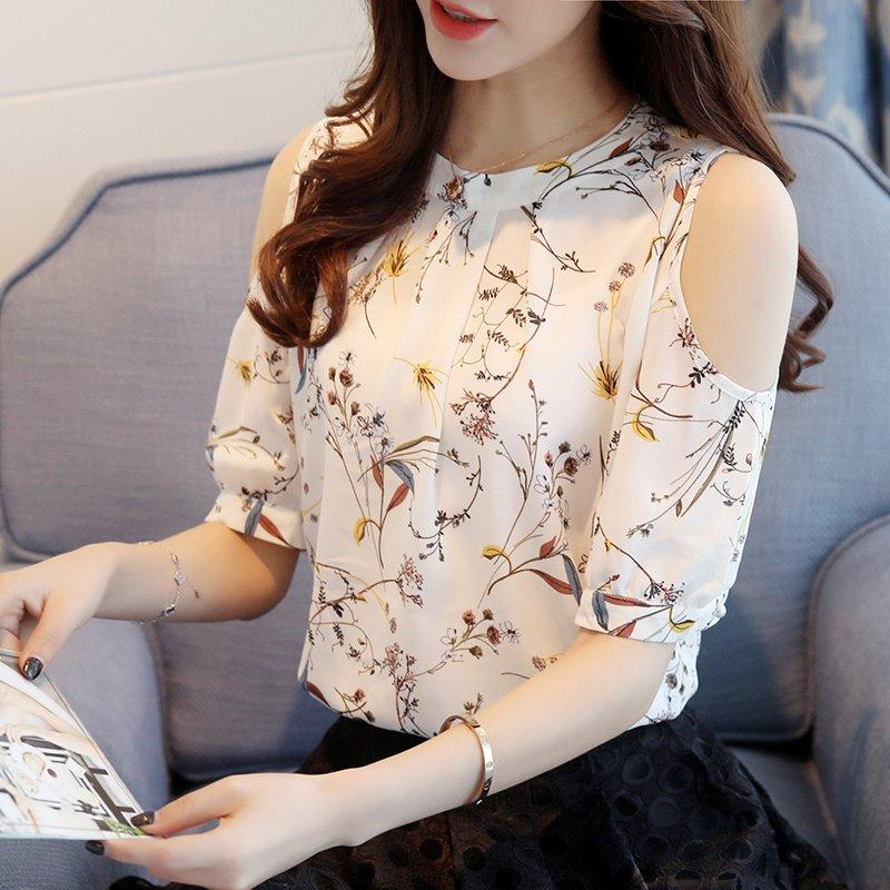 2018 Chiffon Print Blusas Floral Shirt For Womens Elegant Open Shoulder Blousesrricdress-rricdress