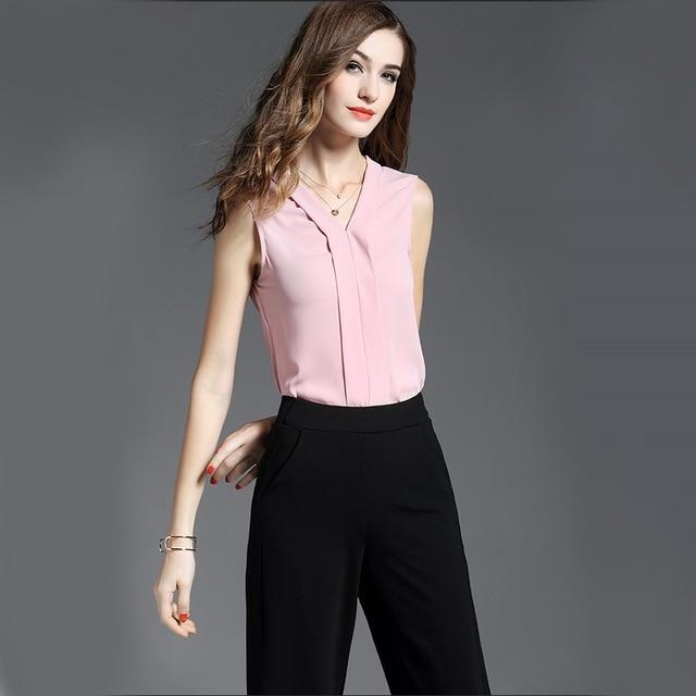 2018 New Fashion Women Black Chiffon Shirt Women Top pink V-neckrricdress-rricdress
