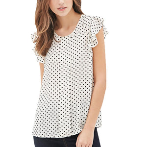 Summer Butterfly Sleeve Polka Dot Blouses Fashion O-Neck Women Chiffon Blouse Whiterricdress-rricdress