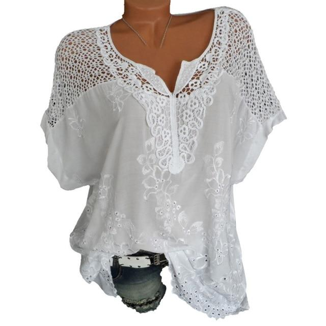 LAAMEI Sexy Lace Patchwork Blouse Shirt Casual Tops Short Sleeve White Blouserricdress-rricdress