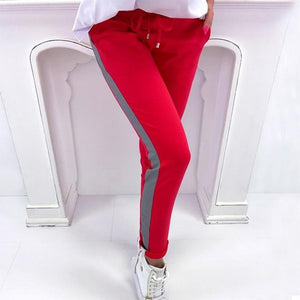 Summer Spring Striped Pencil Pants Women Sweatpants Red Bottoms 2018 Casualrricdress-rricdress