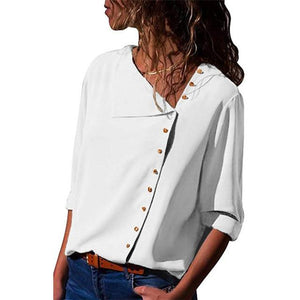 2018 Women Tops and Blouses Solid Long Sleeve Button Skew Collar Irregularrricdress-rricdress