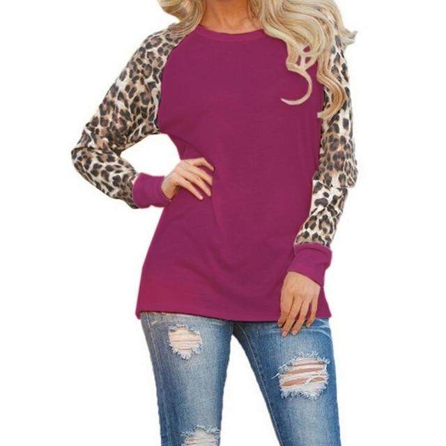 Fashion Casual Long Sleeve Chiffon Leopard Blouse Women Top Tees Summer 2018rricdress-rricdress