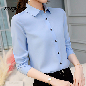 Autumn 2018 New Korean Casual Chiffon Blouse Long Sleeve Elegant Women Topsrricdress-rricdress