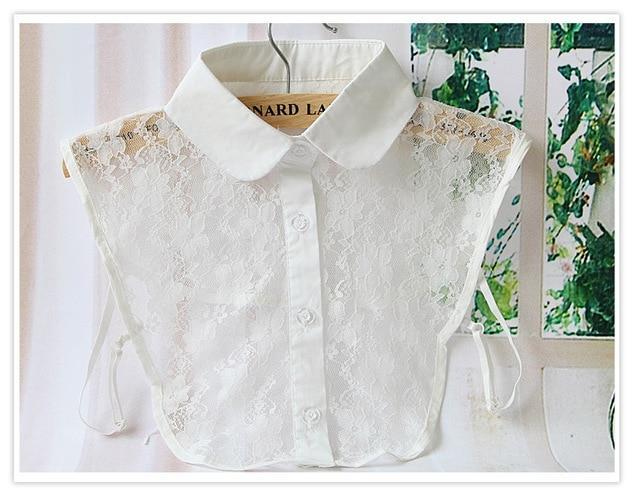Solid Shirt Fake Collar White Black Blouse Accessories female decorative Embroidered shirtrricdress-rricdress