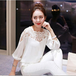 Summer Large size 2XL Feminine Blouse Women Casual Chiffon Lace Blouse Versionrricdress-rricdress