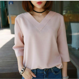 Women Summer Style Chiffon Blouses Shirts Lady Girls Simple Style V-Neckrricdress-rricdress