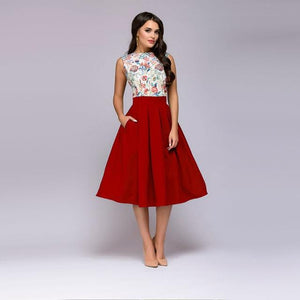 Women Floral Print Sleeveless Middle Dress Vintage Fit and Flare Elegant Partyrricdress-rricdress