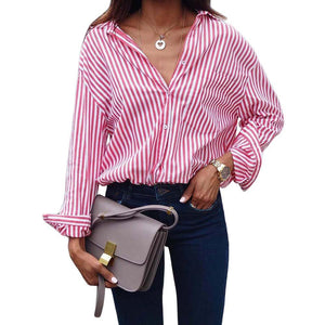 Summer Fashion Women Long Sleeve Turn down Collar Striped Blouse Shirts Casualrricdress-rricdress