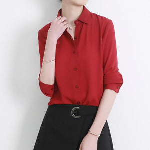 New Women's Shirt Classic Chiffon Blouse Female Plus Size Loose Long Sleeverricdress-rricdress