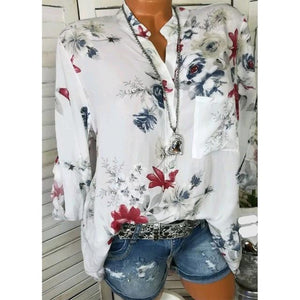 5XL Big Size Long Sleeve Shirt Summer Floral Printed V Neck Blouserricdress-rricdress