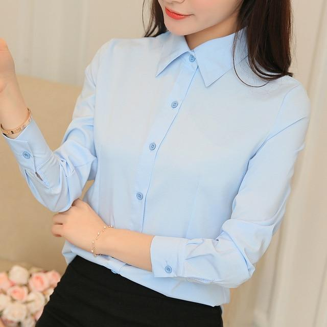 Blouses Women Women Tops Long Sleeve Casual Chiffon Blouse Female Workrricdress-rricdress