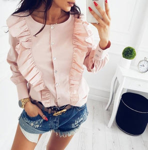 Lossky 2018 Spring Fashion Women's Ruffles Blouse Casual O-Neck Long Sleeve Buttonrricdress-rricdress