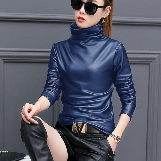 Turtleneck Blouse For Women 2018 Autumn Winter Long Sleeve Pu Leather Velvetrricdress-rricdress