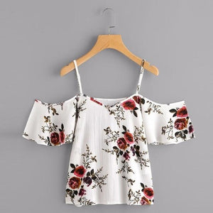 Summer Women V-Neck Chiffon Blouses Fashion Boho Floral Printed Shirts Ladies Casualrricdress-rricdress
