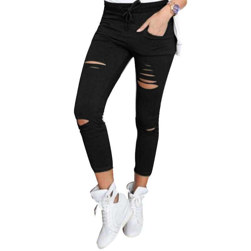 Nibesser Solid Stretch Ripped Jeans Skinny Pant Women Sexy Fit Holes Kneerricdress-rricdress