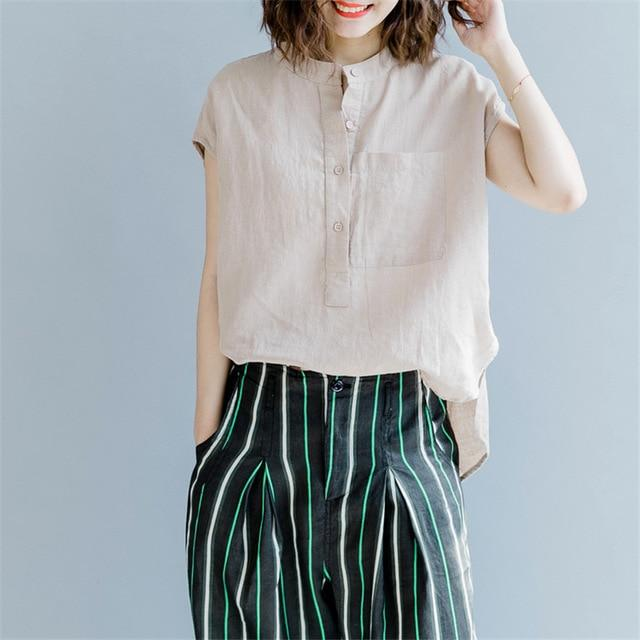 Women Stand Shirts And Blouses 2018 Summer New Solid Color Cottonrricdress-rricdress