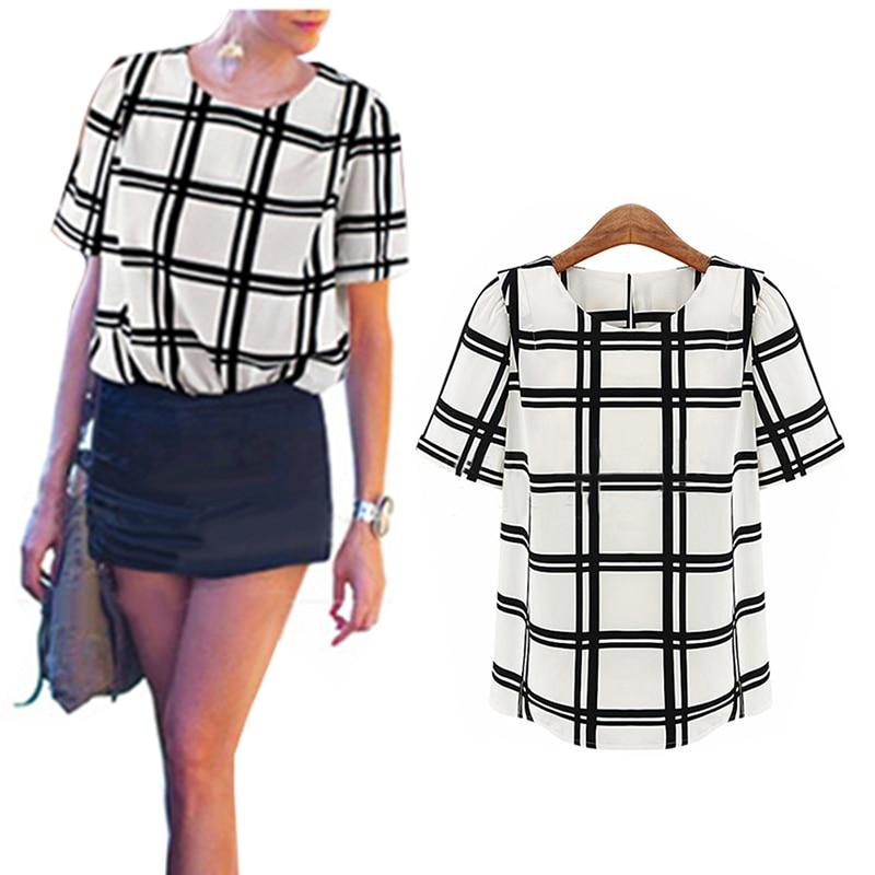 women OL Shirt Summer Black White Grid Short Sleeve Shirt Tops OLrricdress-rricdress